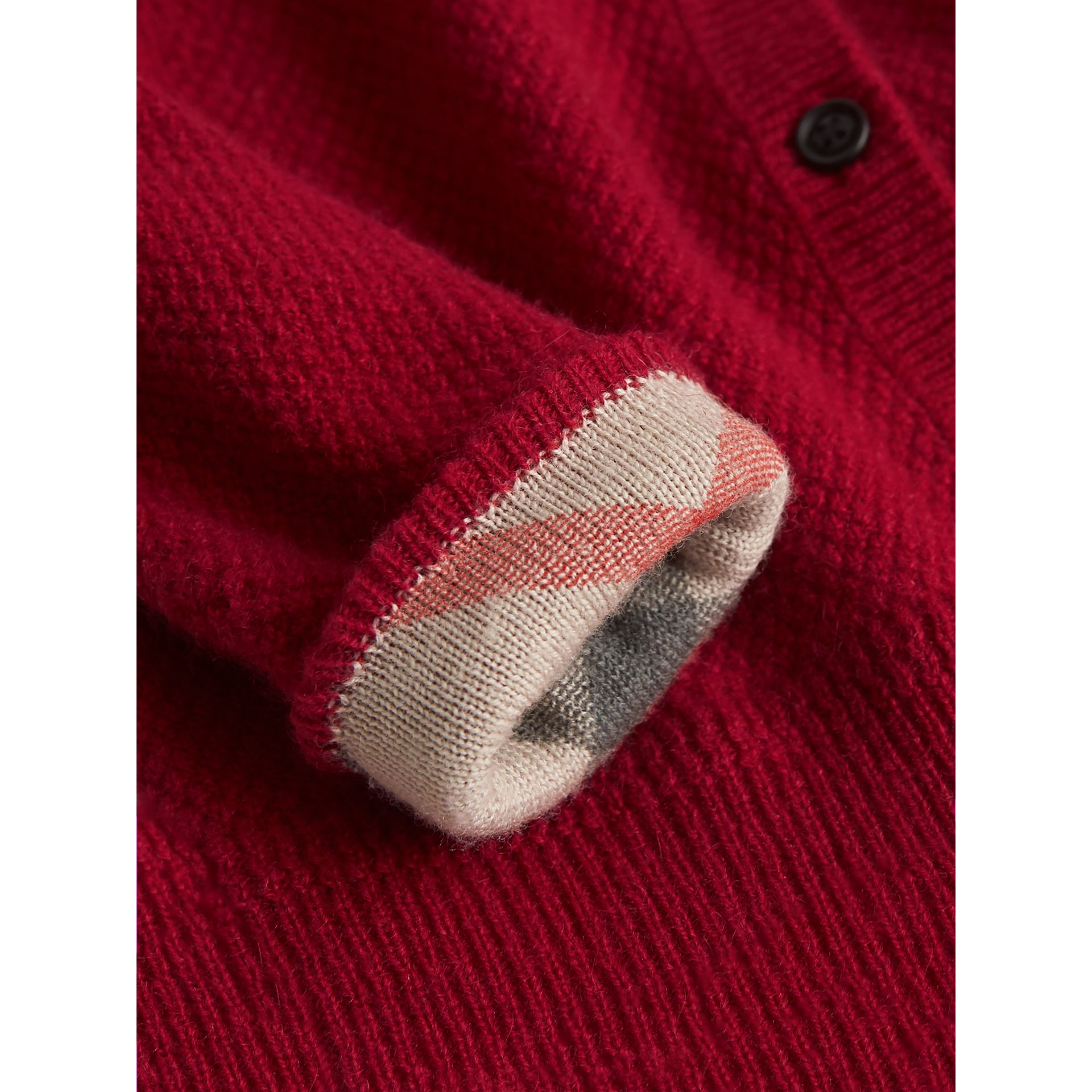 Check Detail Cashmere Cardigan in Parade Red | Burberry Canada - gallery image 1