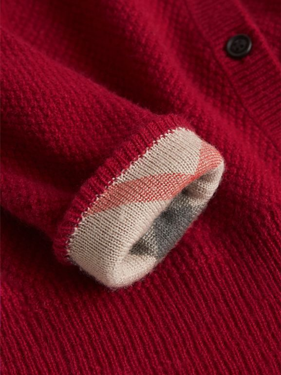 Check Detail Cashmere Cardigan in Parade Red | Burberry - cell image 1