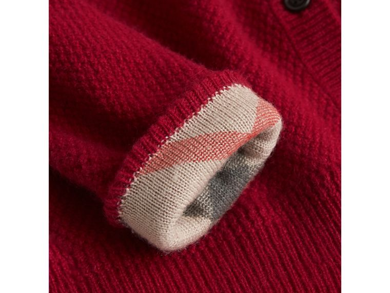 Check Detail Cashmere Cardigan in Parade Red | Burberry Canada - cell image 1
