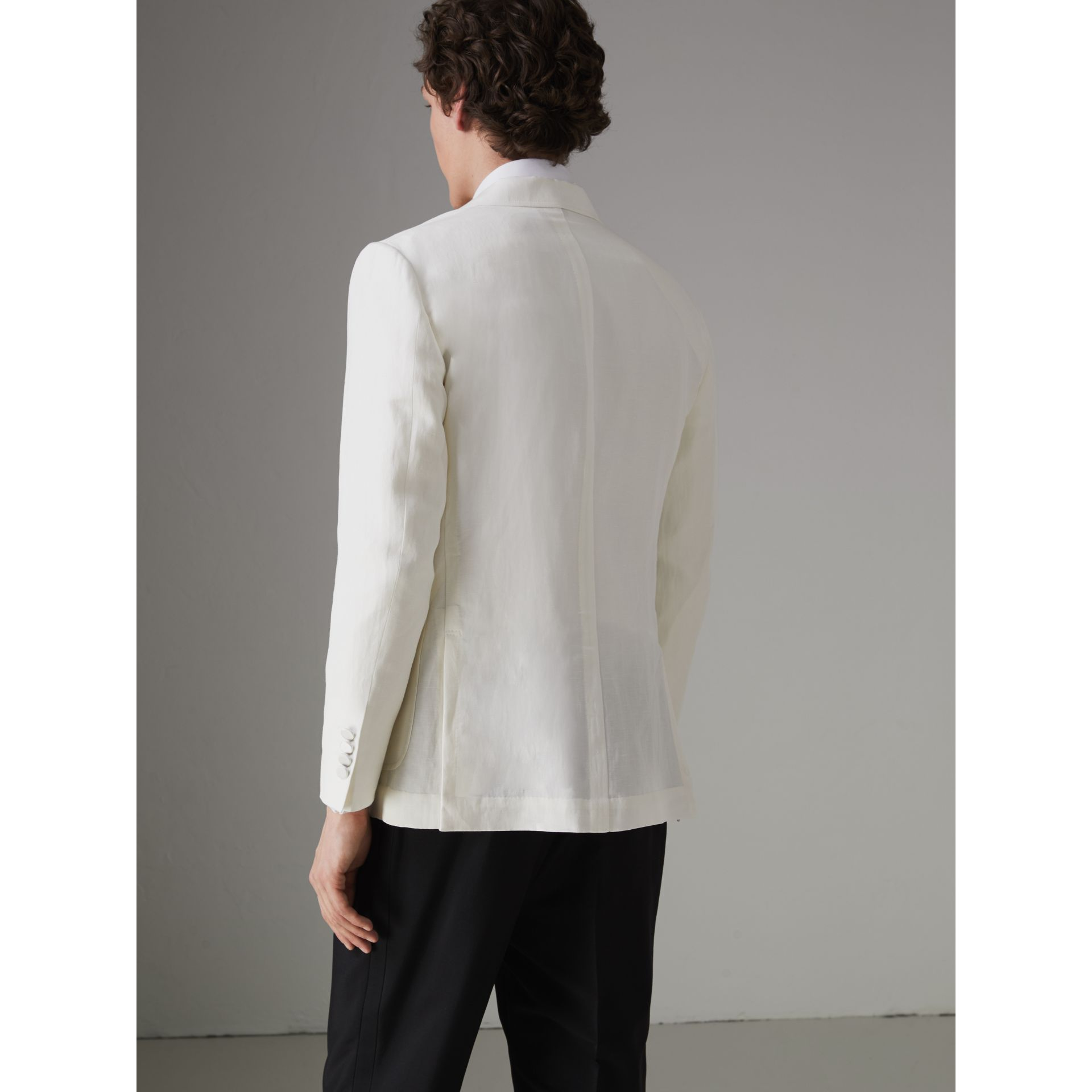 Linen Silk Double-breasted Tailored Jacket in Off White - Men | Burberry Singapore - gallery image 2