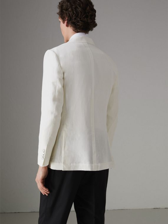 Linen Silk Double-breasted Tailored Jacket in Off White - Men | Burberry United Kingdom - cell image 2