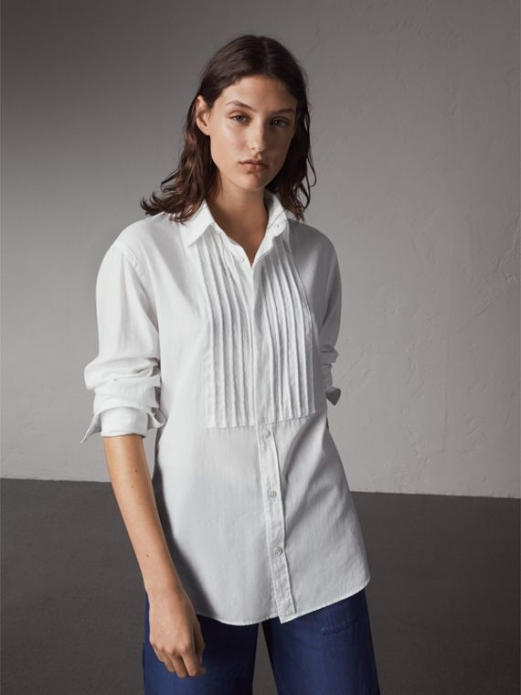 Unisex Double-cuff Pintuck Bib Cotton Shirt in White - Women | Burberry Australia