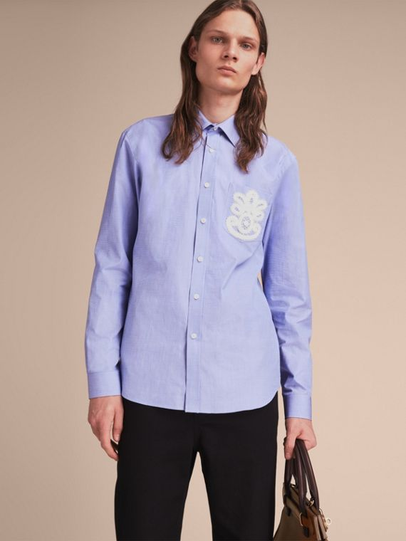 Lace Appliqué Cotton Shirt - Men | Burberry Singapore