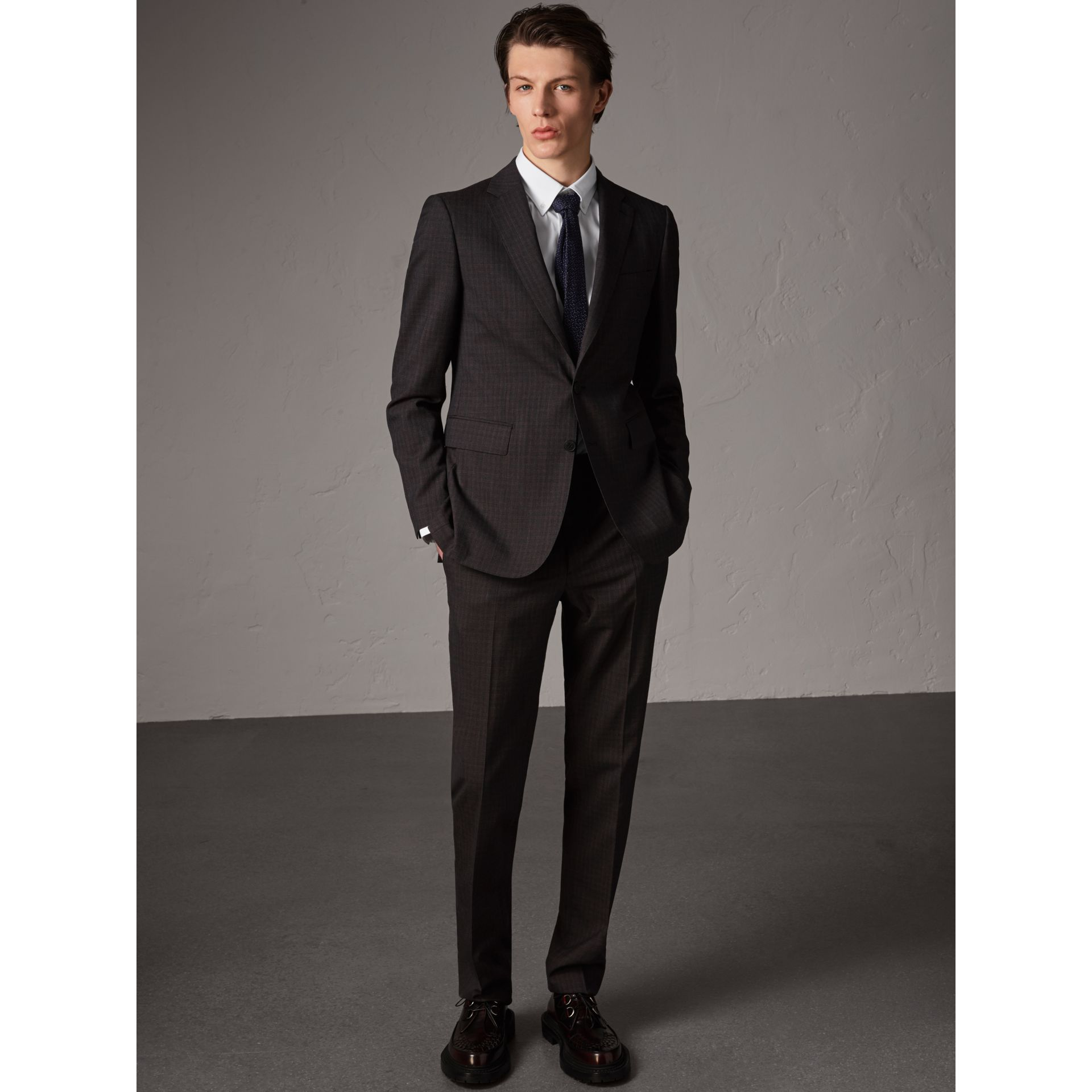 Soho Fit Check Wool Suit in Blackcurrant - Men | Burberry - gallery image 0