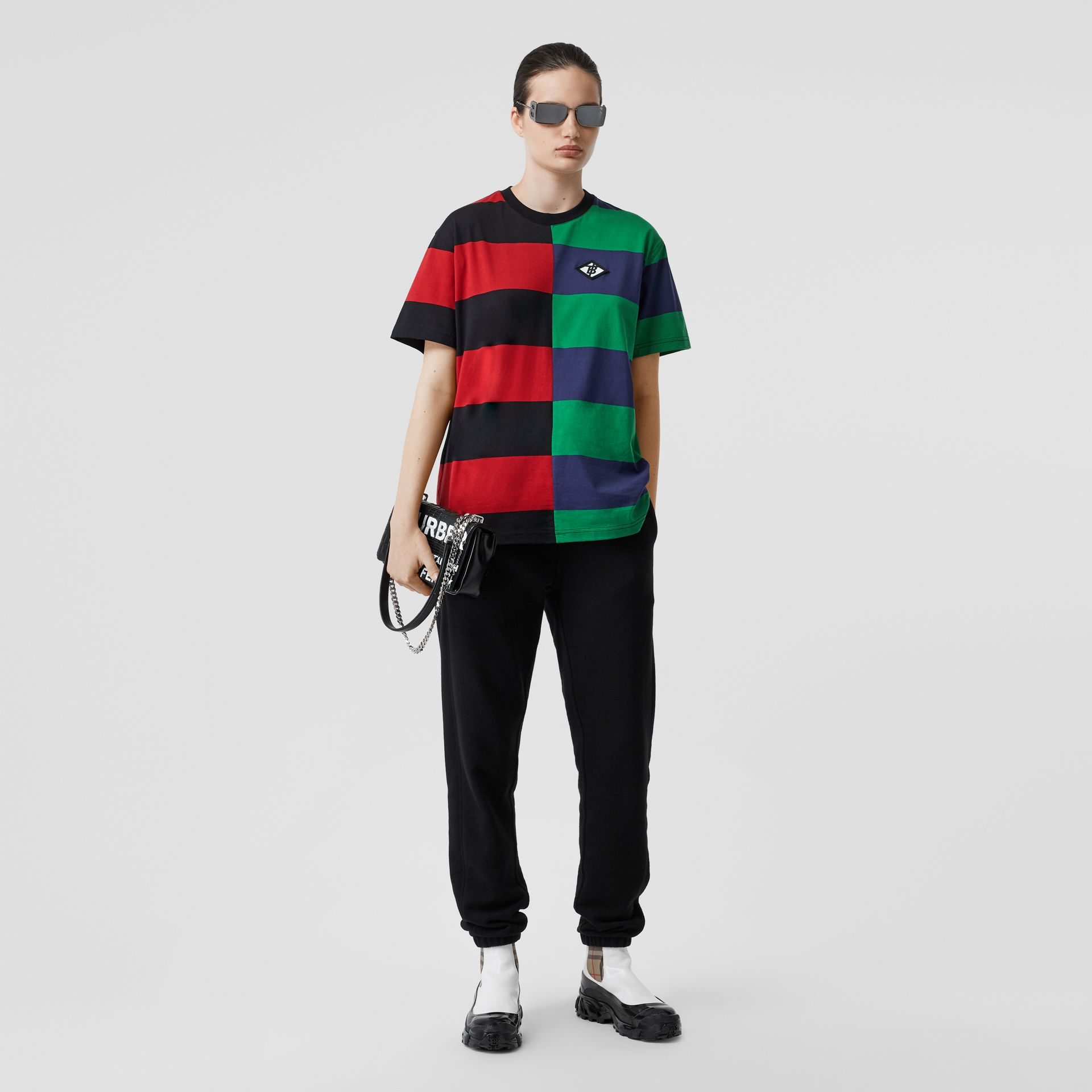 Contrast Stripe Cotton Oversized T-shirt in Bright Red - Women | Burberry Australia - gallery image 0