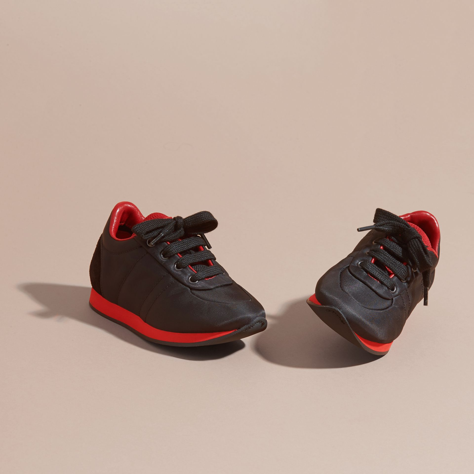 Black/military red Two-tone Satin and Leather Sneakers - gallery image 3