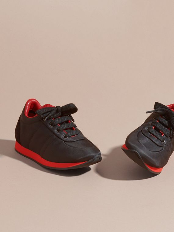 Black/military red Two-tone Satin and Leather Sneakers - cell image 2