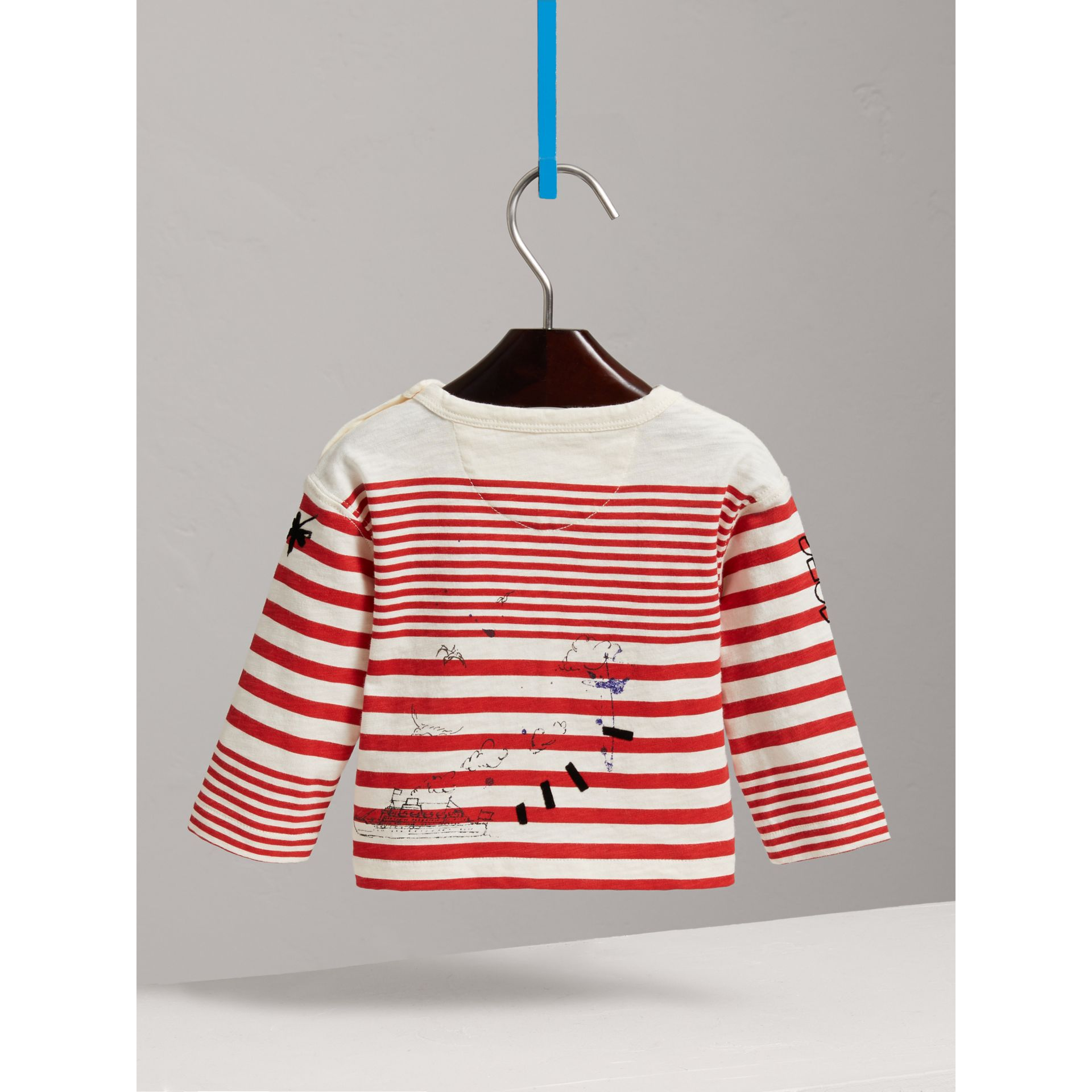Long-sleeve SW1 Print Cotton Top in Bright Red/natural White - Children | Burberry - gallery image 3
