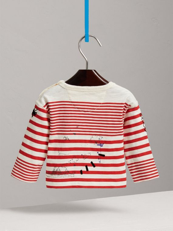 Long-sleeve SW1 Print Cotton Top in Bright Red/natural White | Burberry - cell image 3