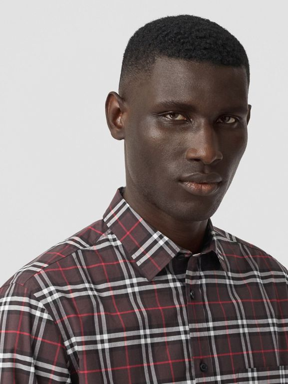 Small Scale Check Stretch Cotton Shirt in Bark - Men | Burberry - cell image 1