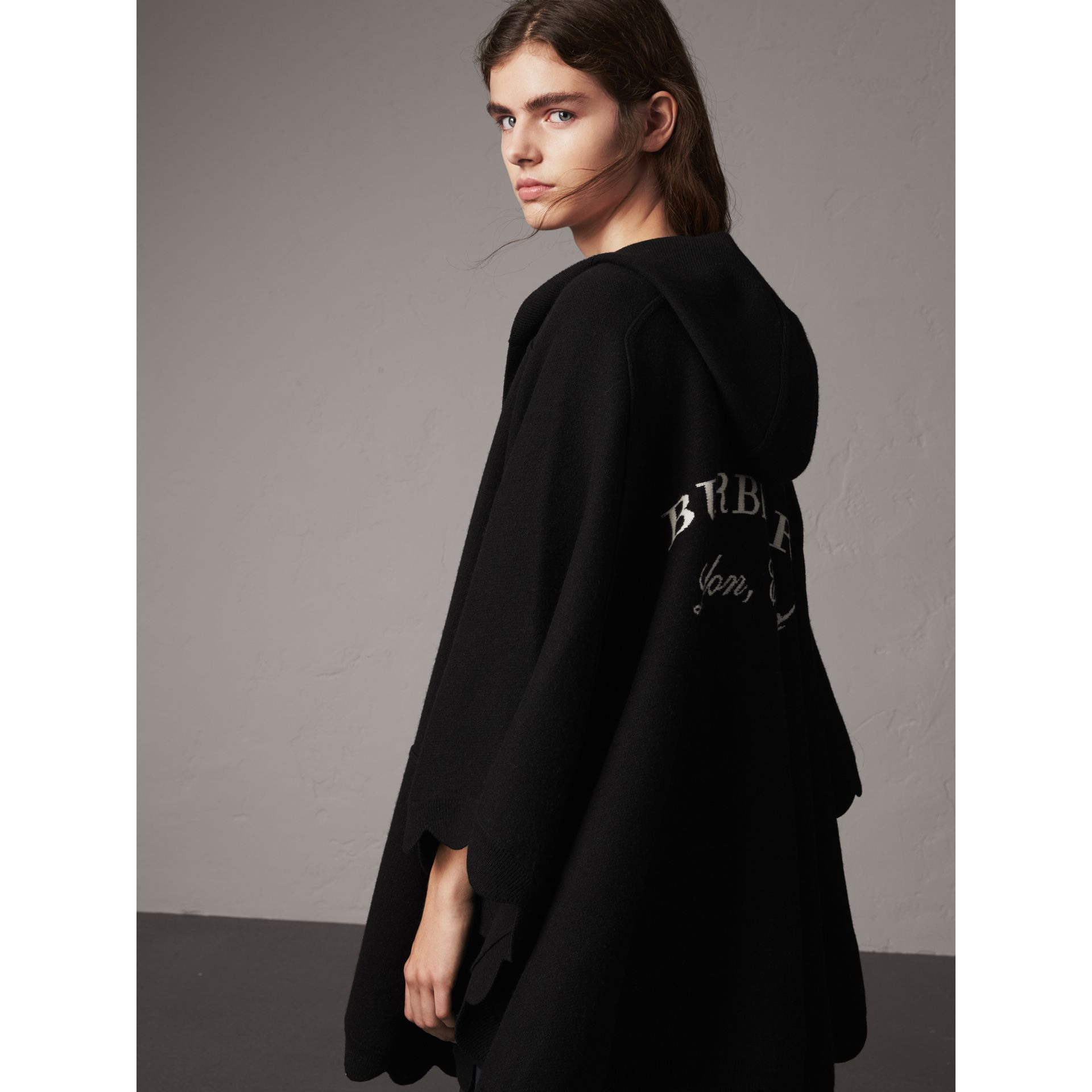 Scallop-edged Wool Cashmere Hooded Poncho in Black - Women | Burberry - gallery image 1
