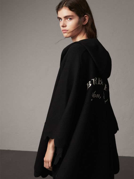 Scallop-edged Wool Cashmere Hooded Poncho in Black
