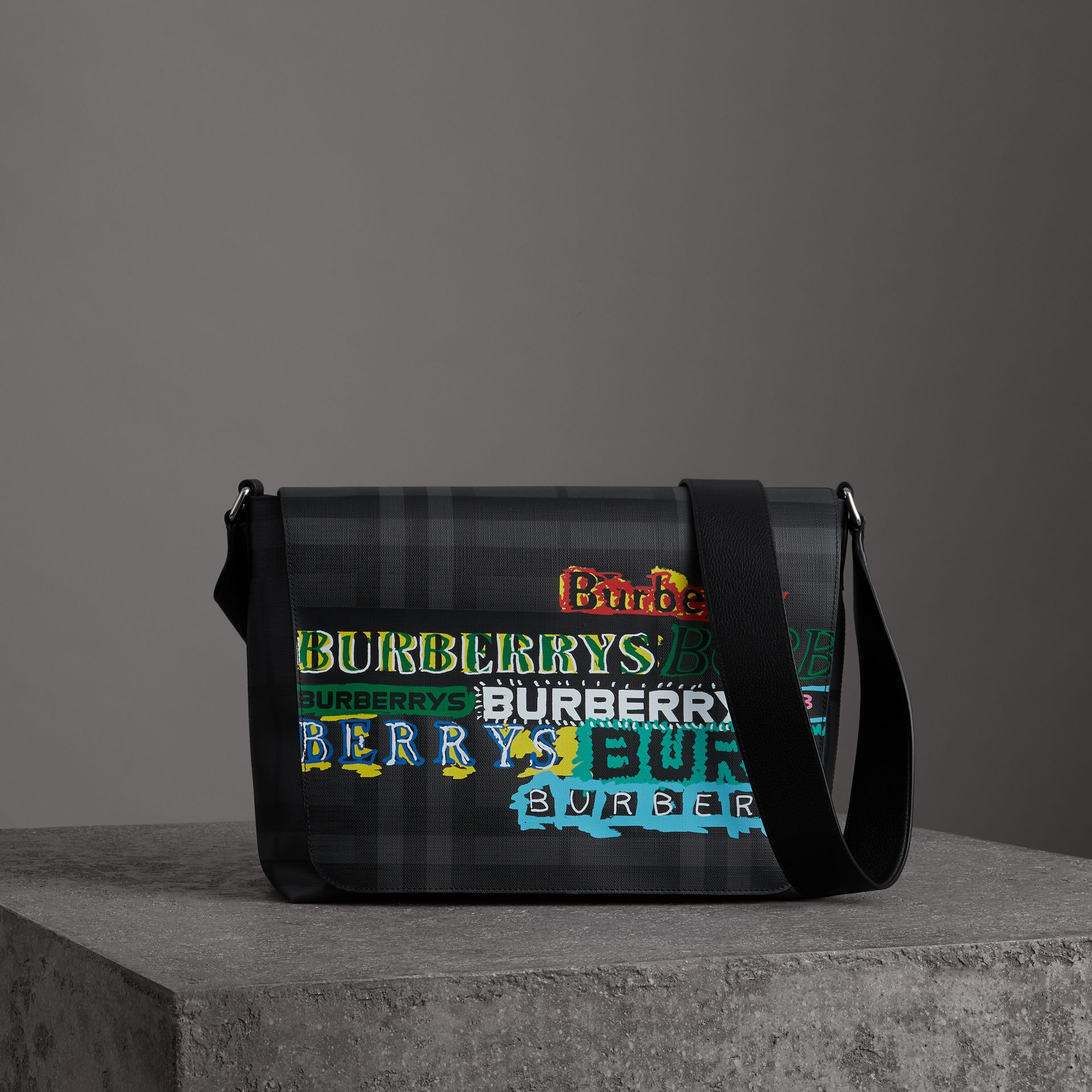 Large Logo Print Messenger Bag in Charcoal - Men | Burberry Singapore - gallery image 0