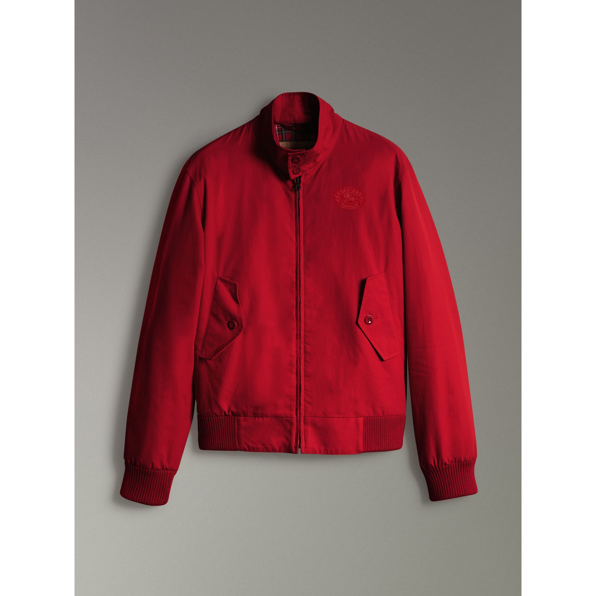 Slim Fit Tropical Gabardine Harrington Jacket in Bright Red - Men | Burberry - gallery image 3