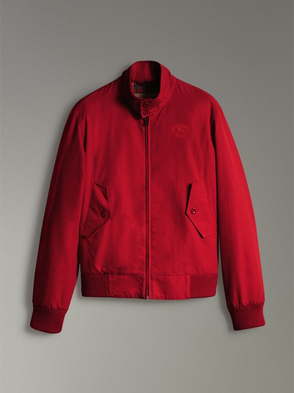 Slim Fit Tropical Gabardine Harrington Jacket in Bright Red - Men | Burberry - cell image 3