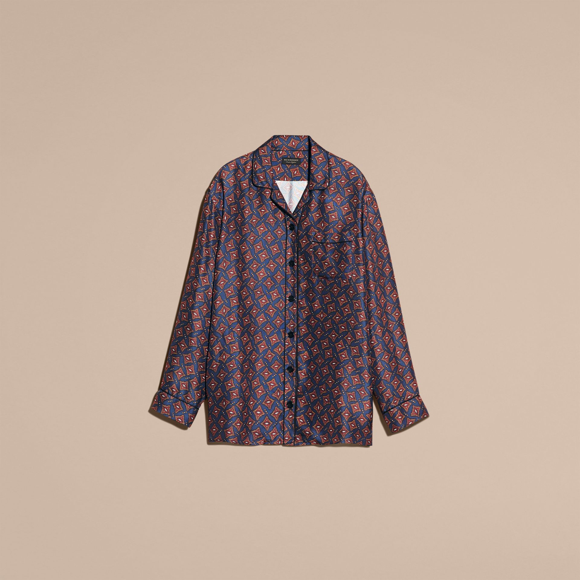 Navy Long-sleeved Geometric Print Silk Pyjama-style Shirt - gallery image 4