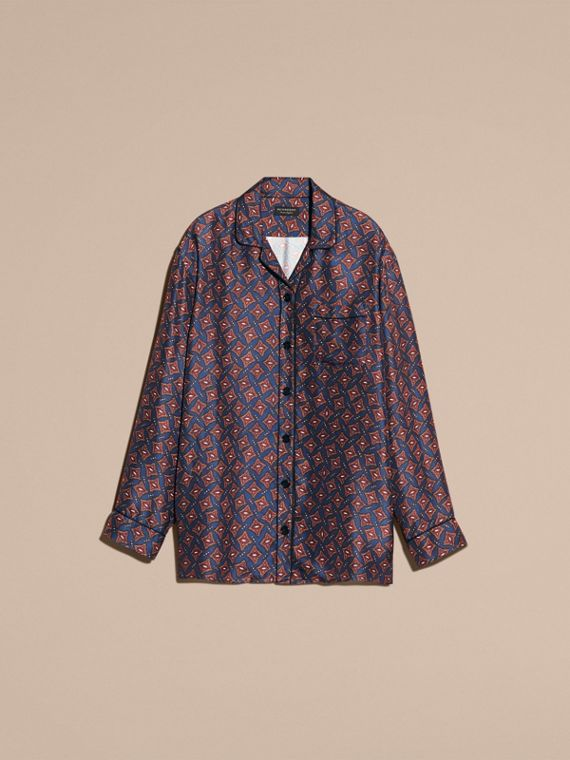 Navy Long-sleeved Geometric Print Silk Pyjama-style Shirt - cell image 3