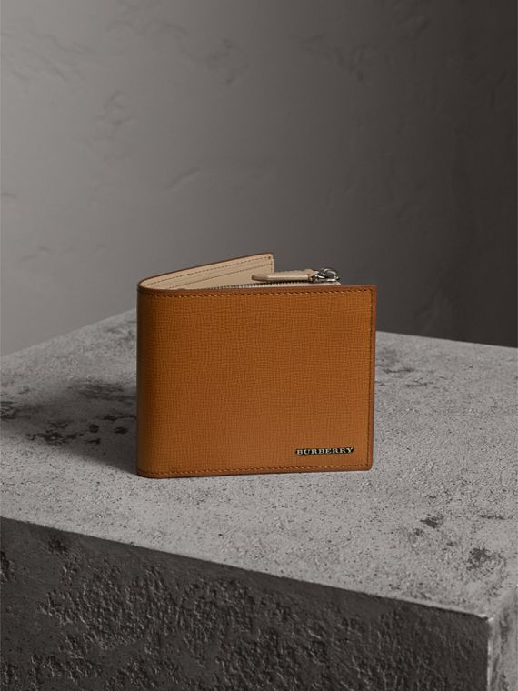 Leather International Bifold ID Coin Wallet in Tan