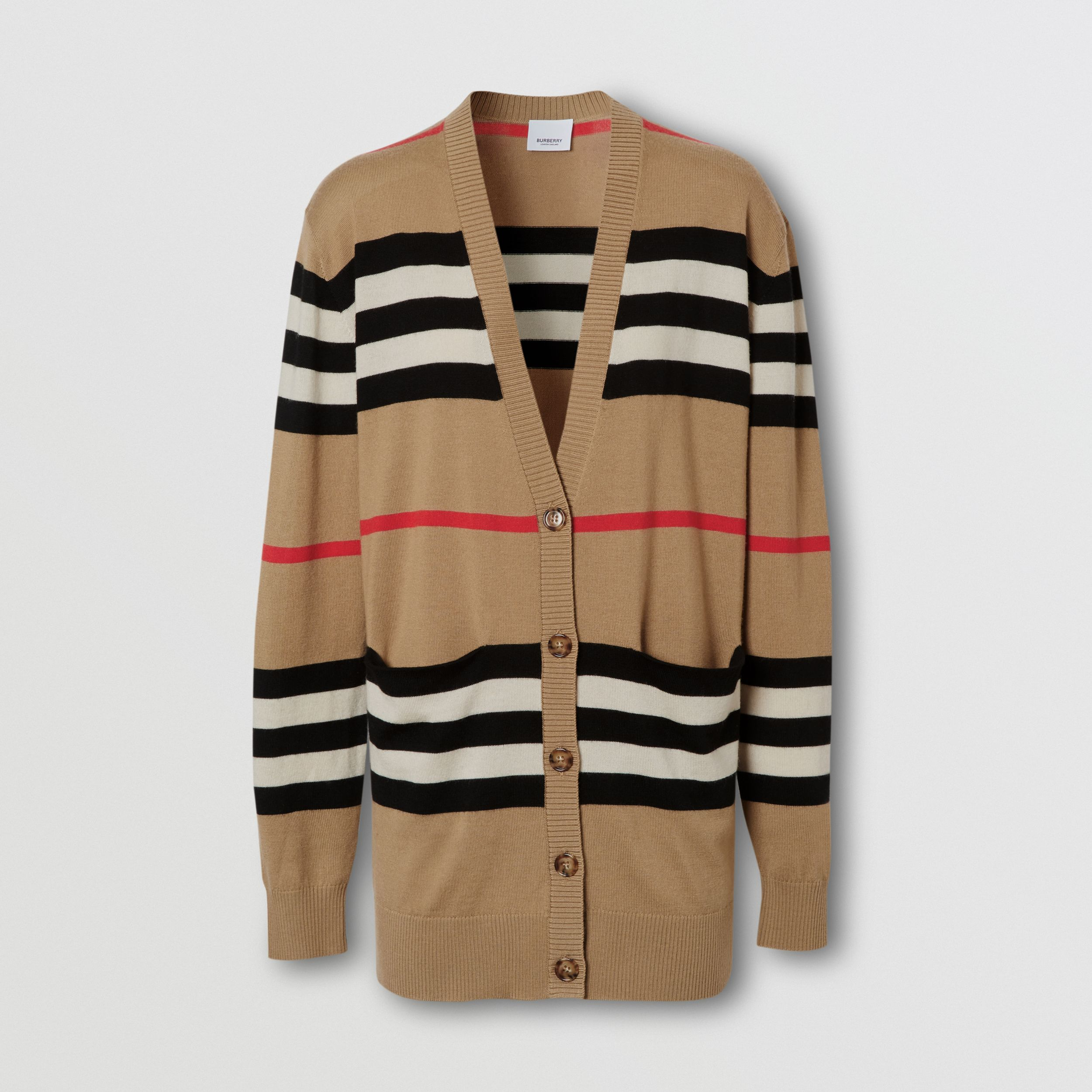 Icon Stripe Merino Wool Cardigan in Archive Beige - Women | Burberry - 4