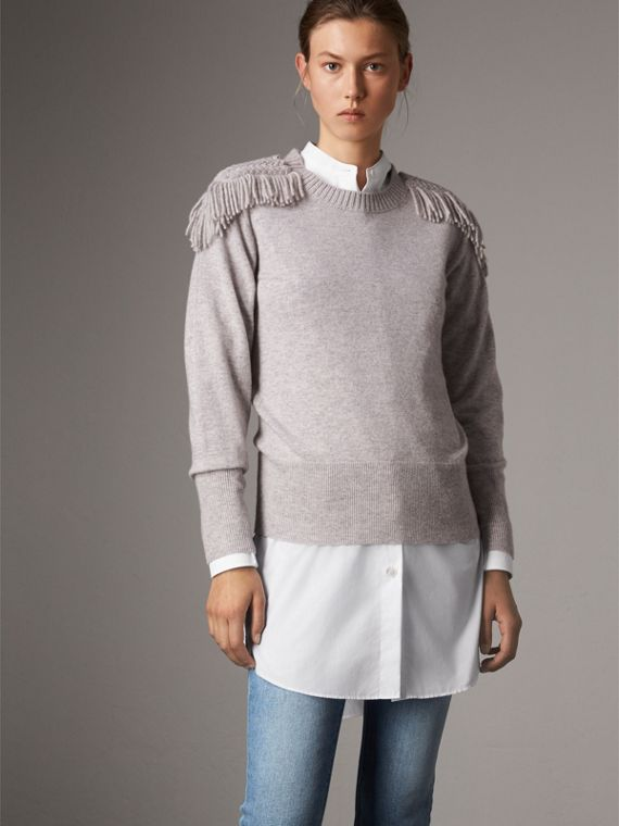 Military Braid Detail Wool Cashmere Sweater in Pale Grey Melange