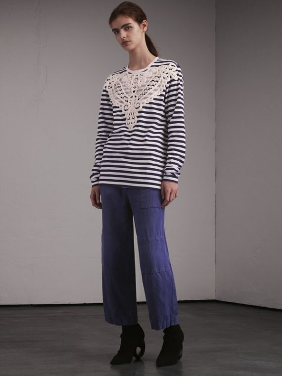 Unisex Breton Stripe Cotton Top with Lace Appliqué in Indigo - Men | Burberry - cell image 2