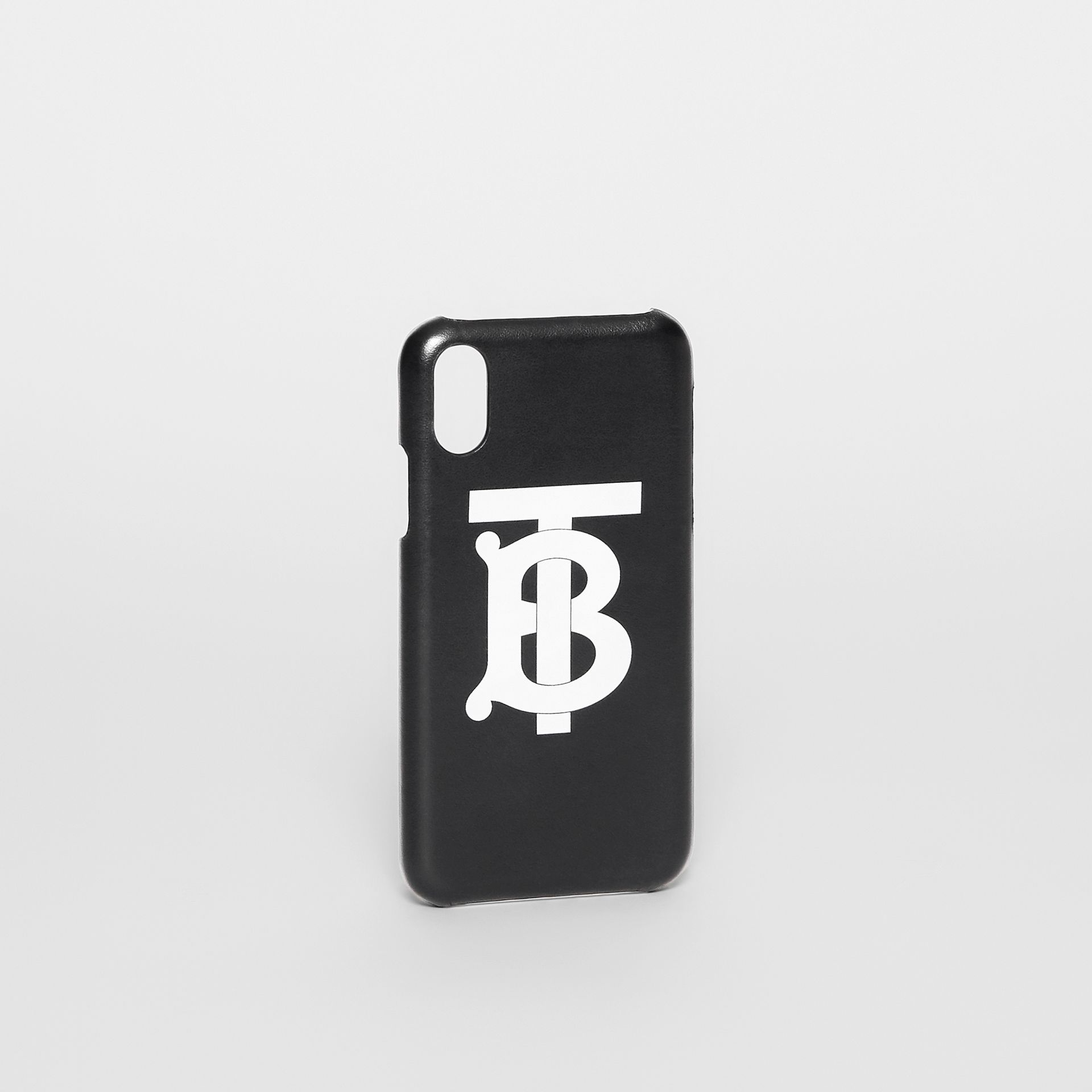 Monogram Motif Leather iPhone X/XS Case in Black - Men | Burberry - gallery image 2