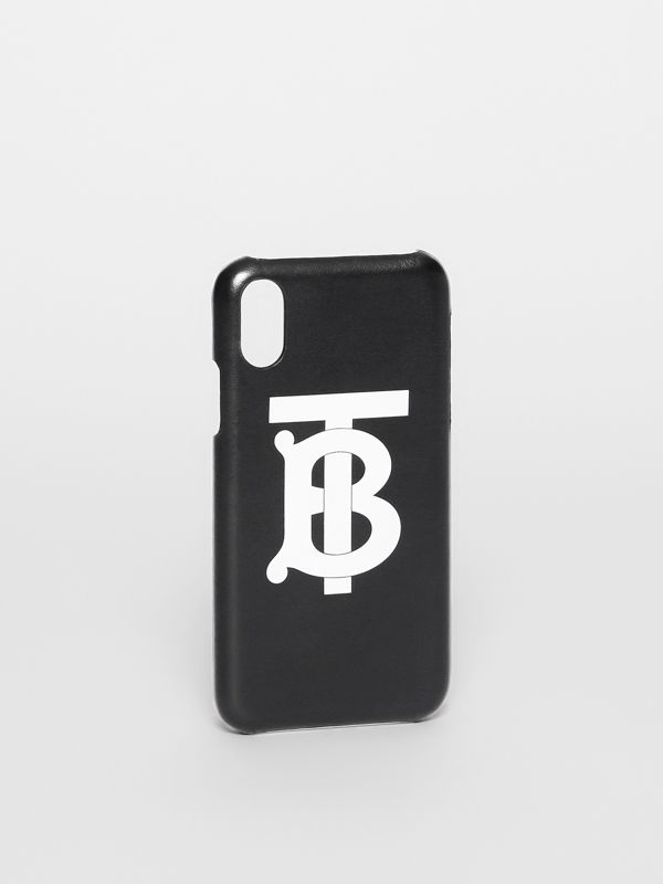 Monogram Motif Leather iPhone X/XS Case in Black - Men | Burberry - cell image 2