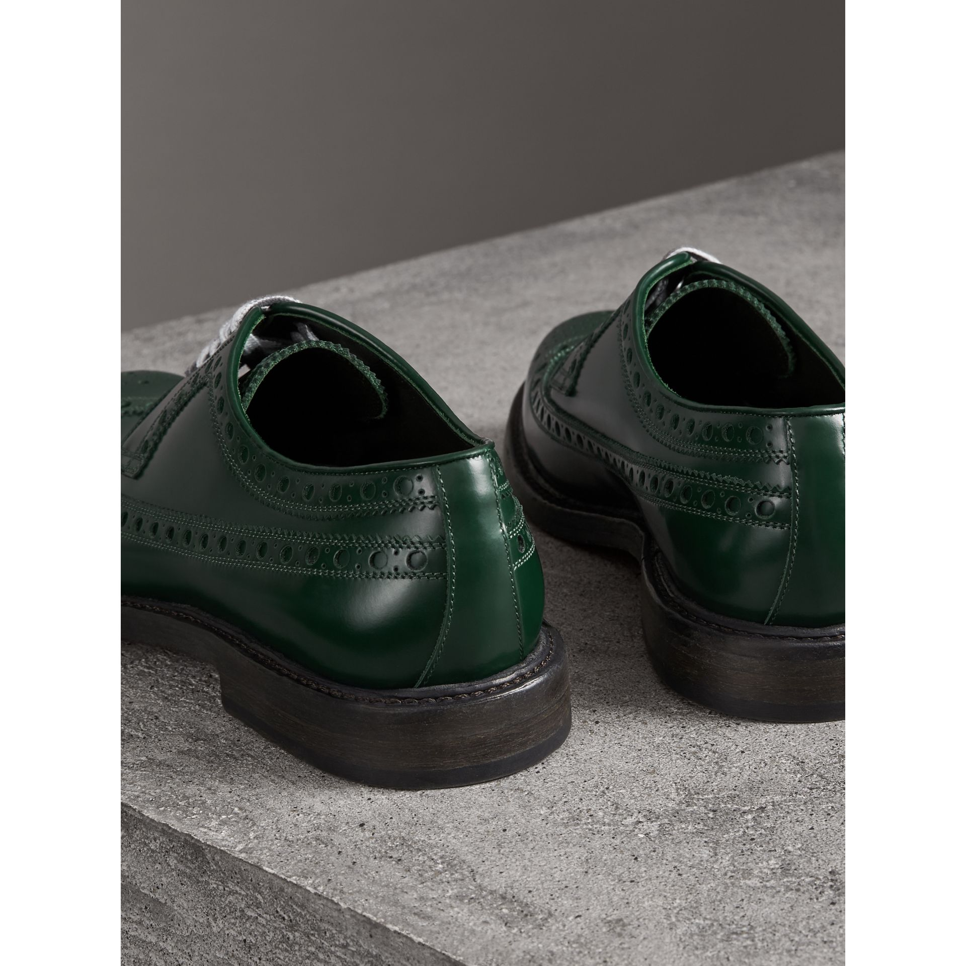 Leather Brogues with Painted Laces in Bottle Green - Men | Burberry - gallery image 3