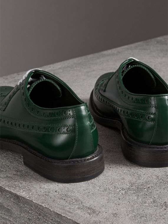 Leather Brogues with Painted Laces in Bottle Green - Men | Burberry - cell image 3