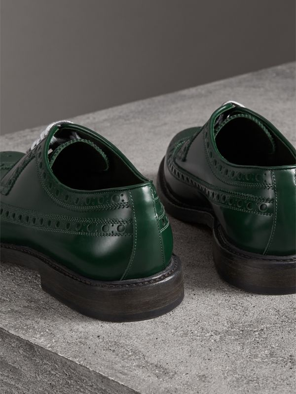 Leather Brogues with Painted Laces in Bottle Green - Men | Burberry United Kingdom - cell image 3