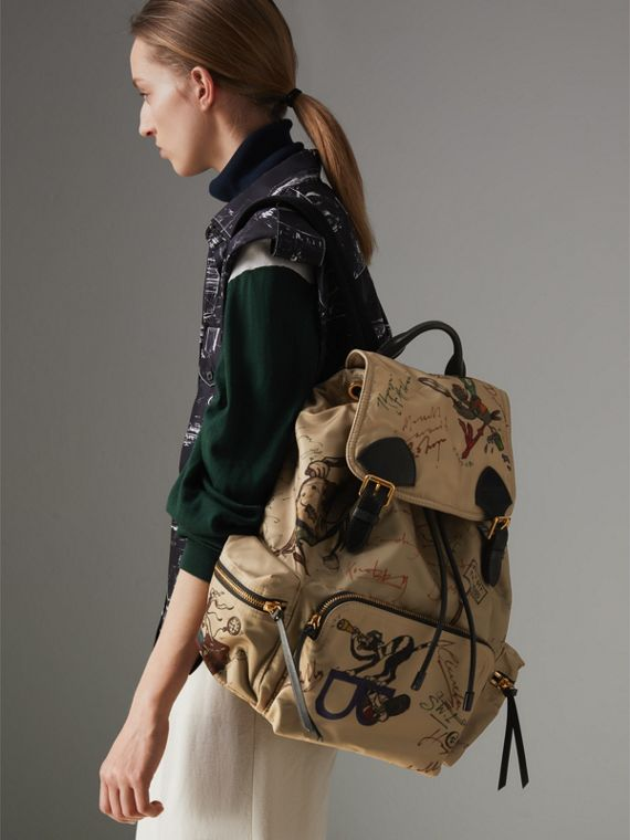 The Large Rucksack in Sketch Print Nylon in Honey | Burberry - cell image 3