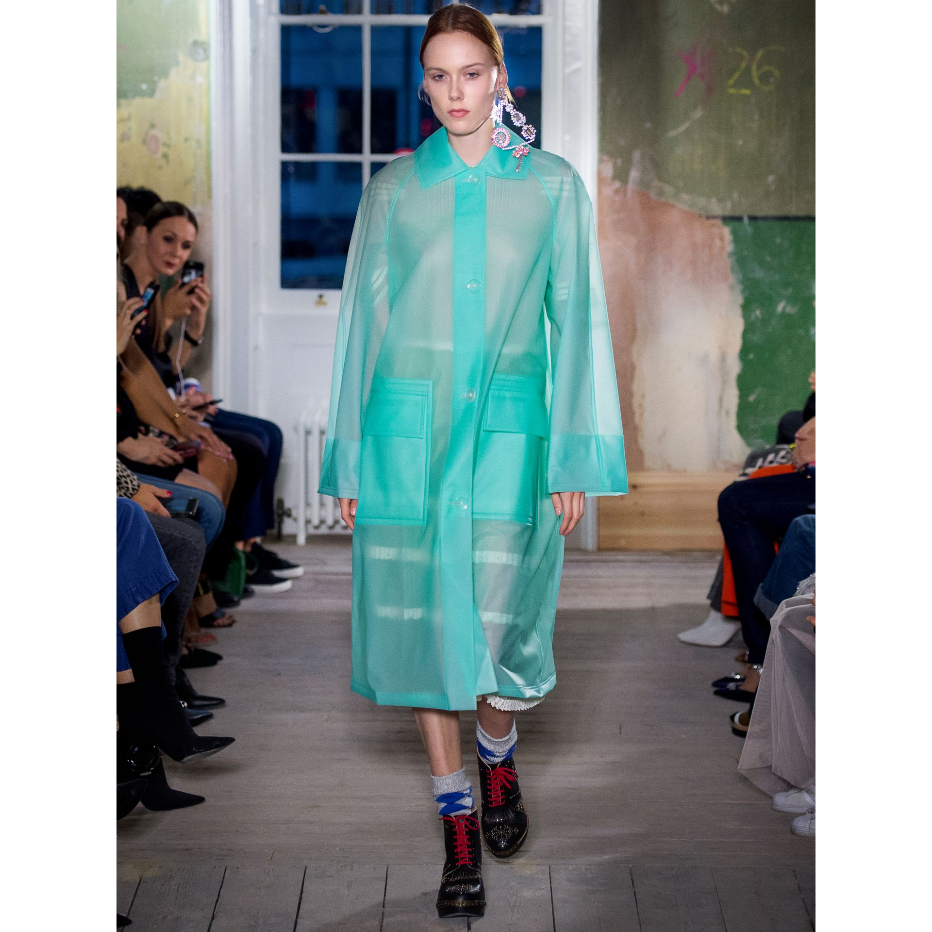 Soft-touch Plastic Car Coat in Turquoise - Women | Burberry - gallery image 5