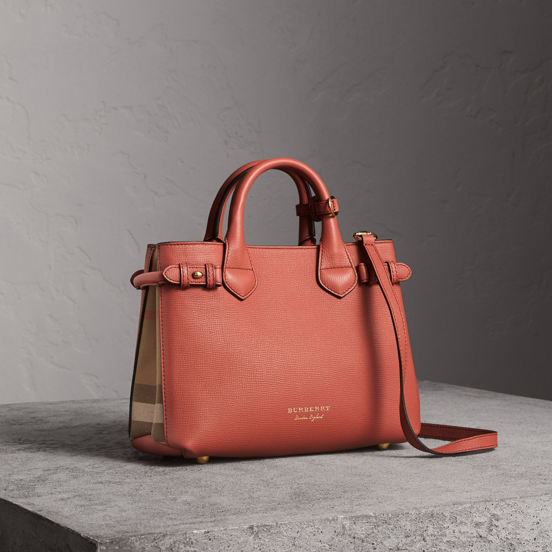 The Small Banner in Leather and House Check in Cinnamon Red - Women | Burberry Singapore - gallery image 0