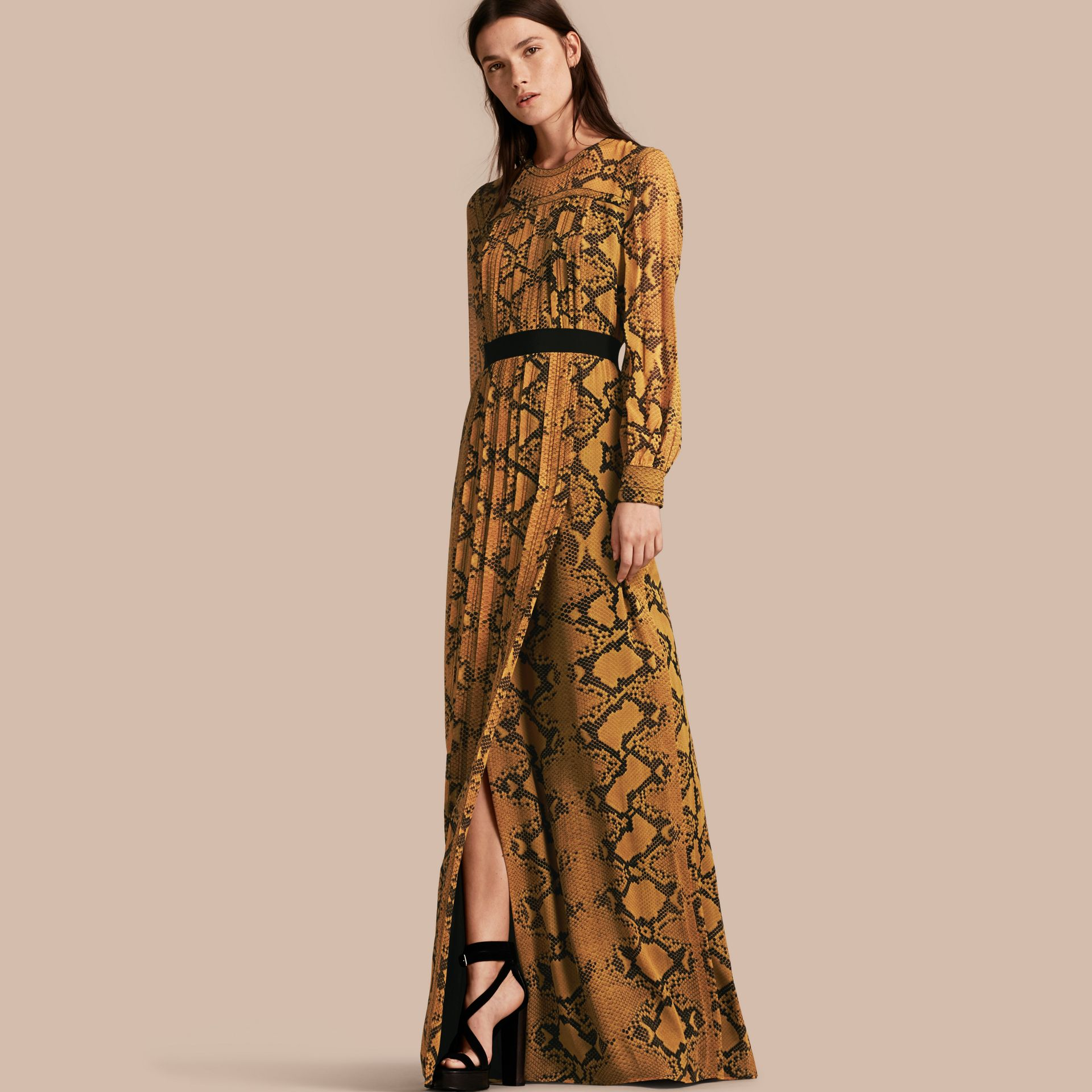 Amber yellow Floor-length Pleat Detail Python Print Silk Dress Amber Yellow - gallery image 1