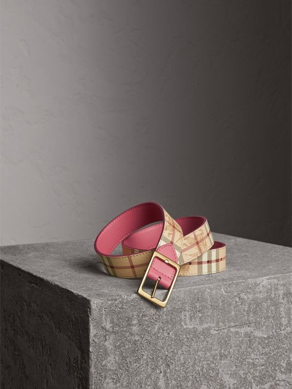 Riveted Reversible Check and Leather Belt in Plum Pink