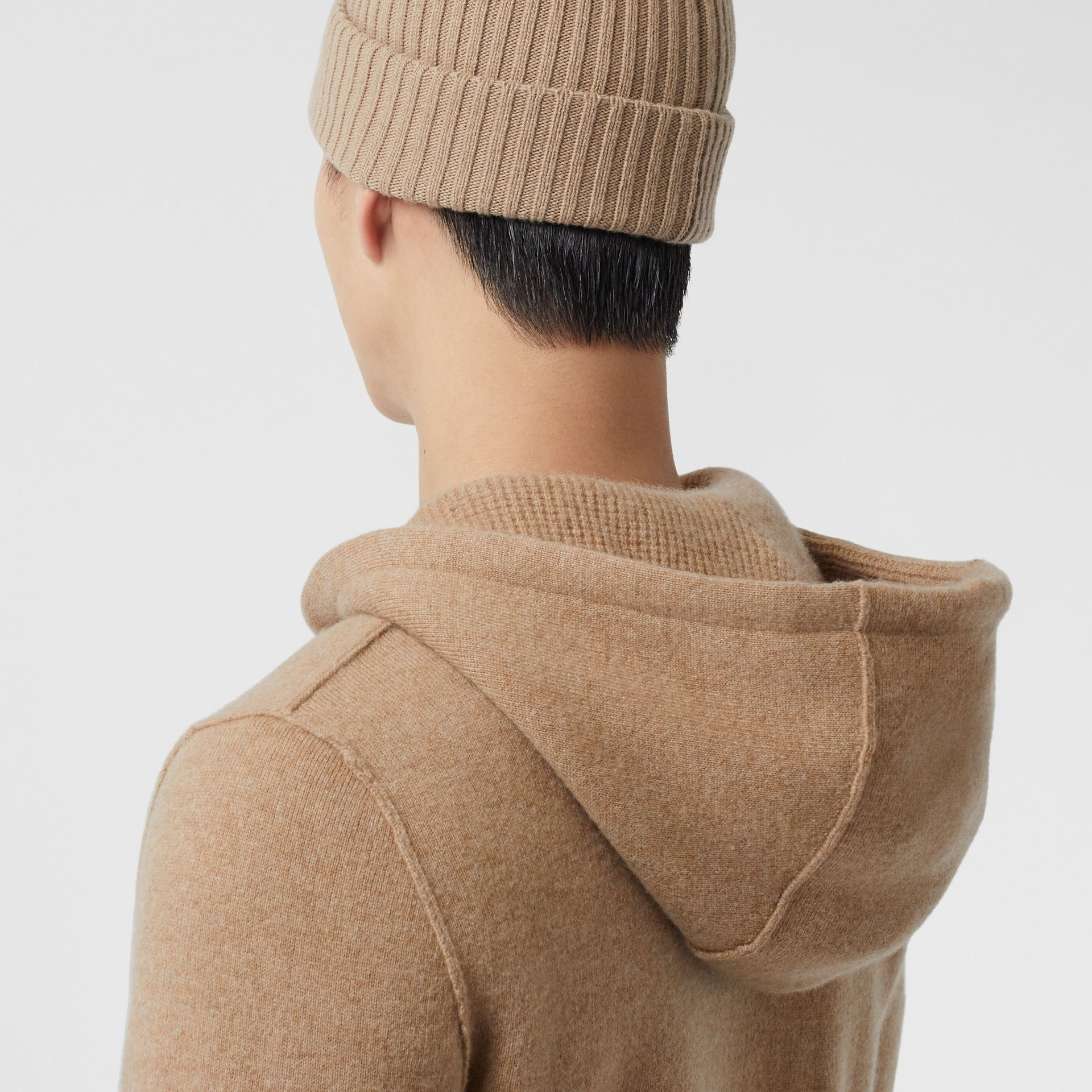 Monogram Motif Cashmere Blend Hooded Top in Pale Coffee - Men | Burberry - gallery image 1