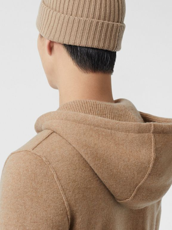 Monogram Motif Cashmere Blend Hooded Top in Pale Coffee - Men | Burberry - cell image 1