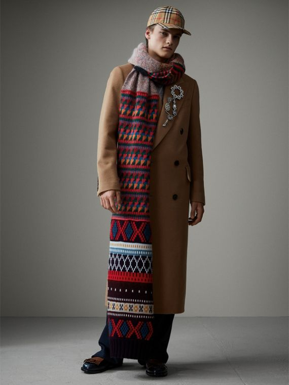 Long Patchwork Cashmere Mouliné Scarf in Multicolour | Burberry - cell image 3
