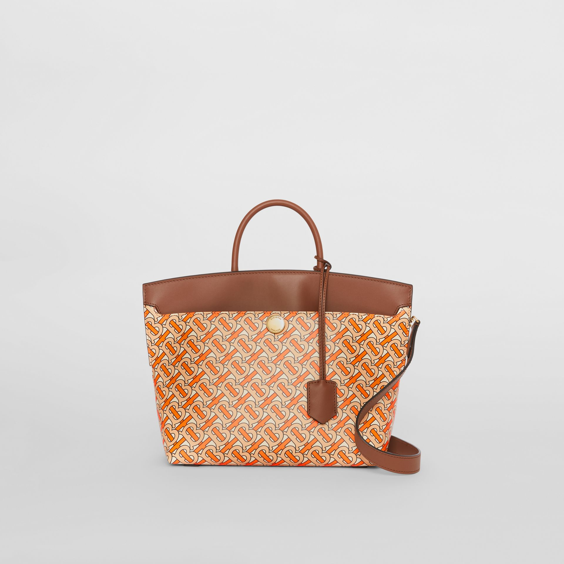 Small Monogram Print Leather Society Top Handle Bag in Bright Orange - Women | Burberry - gallery image 0