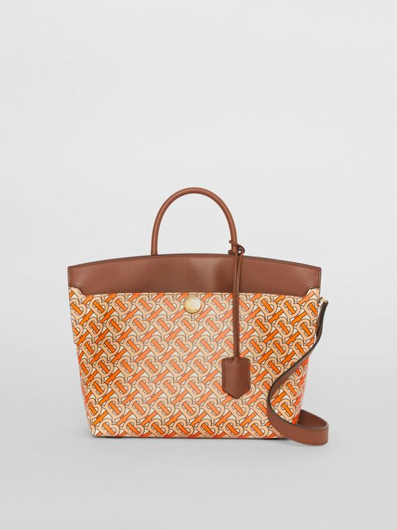 Small Monogram Print Leather Society Top Handle Bag in Bright Orange
