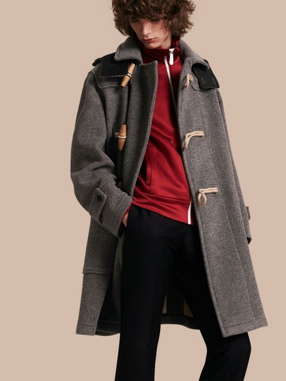 Double Splittable Wool Blend Duffle Coat