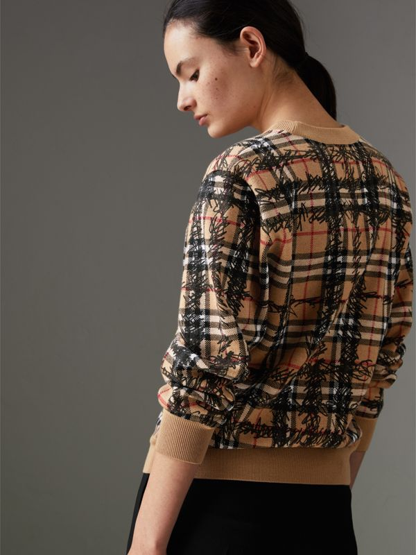 Scribble Check Merino Wool Sweater in Camel/black - Women | Burberry Hong Kong - cell image 2
