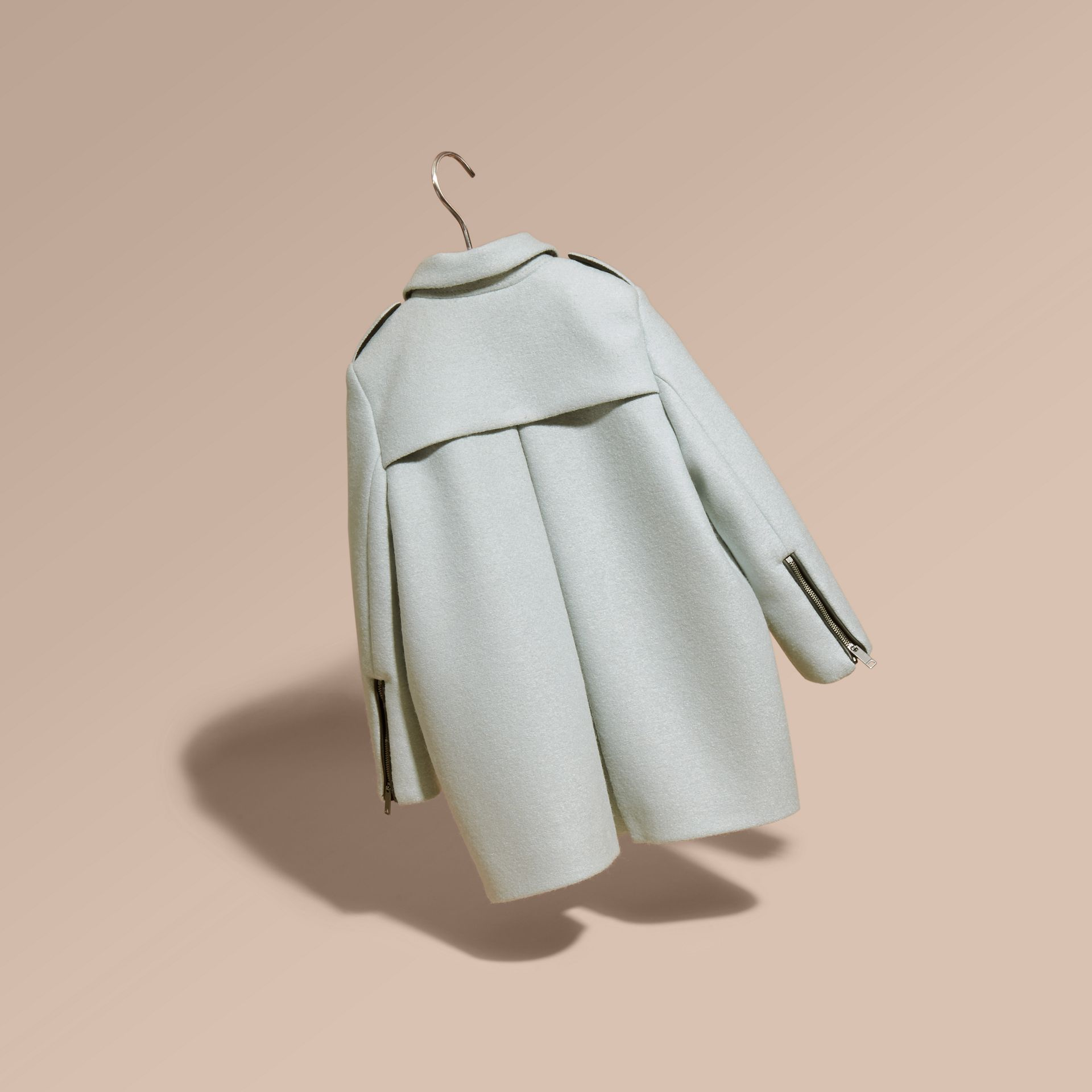 Zip Detail Wool Coat in Pale Eucalyptus - gallery image 4