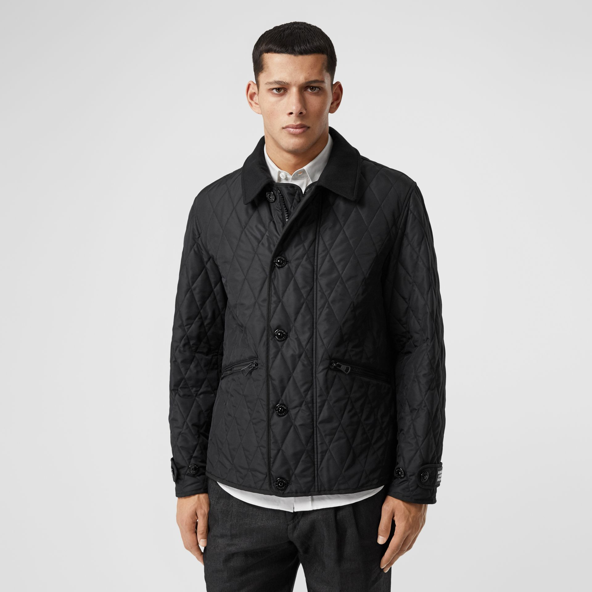 Diamond Quilted Jacket with Warmer in Black - Men | Burberry United Kingdom - gallery image 4