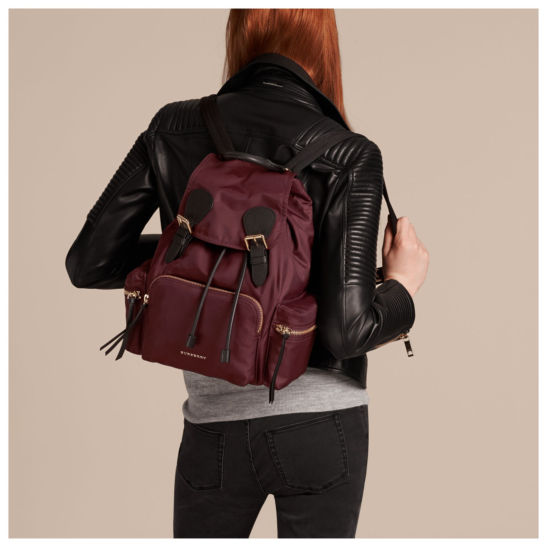 The Medium Rucksack in Technical Nylon and Leather in Burgundy Red - gallery image 4