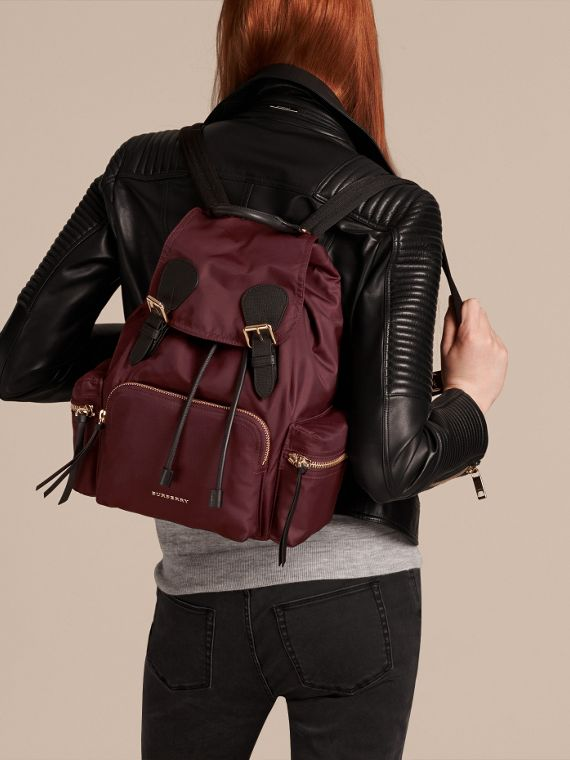 The Medium Rucksack in Technical Nylon and Leather in Burgundy Red - cell image 3