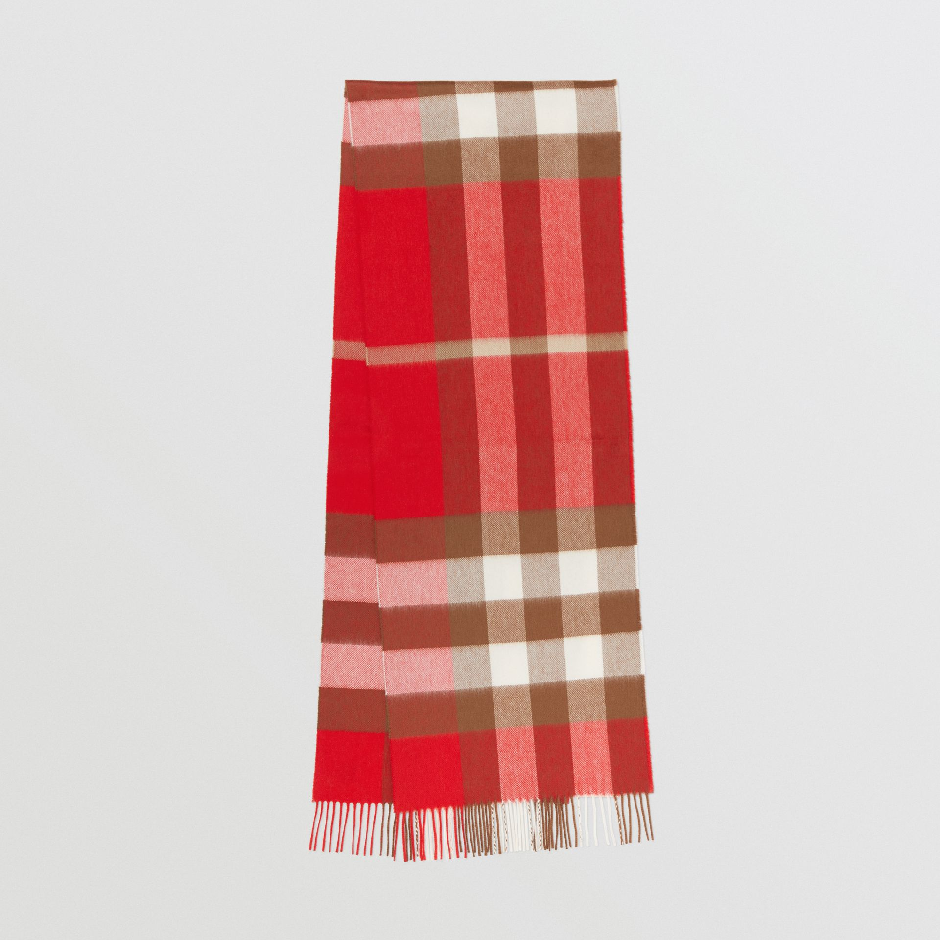 Check Cashmere Scarf in Bright Red | Burberry - gallery image 0