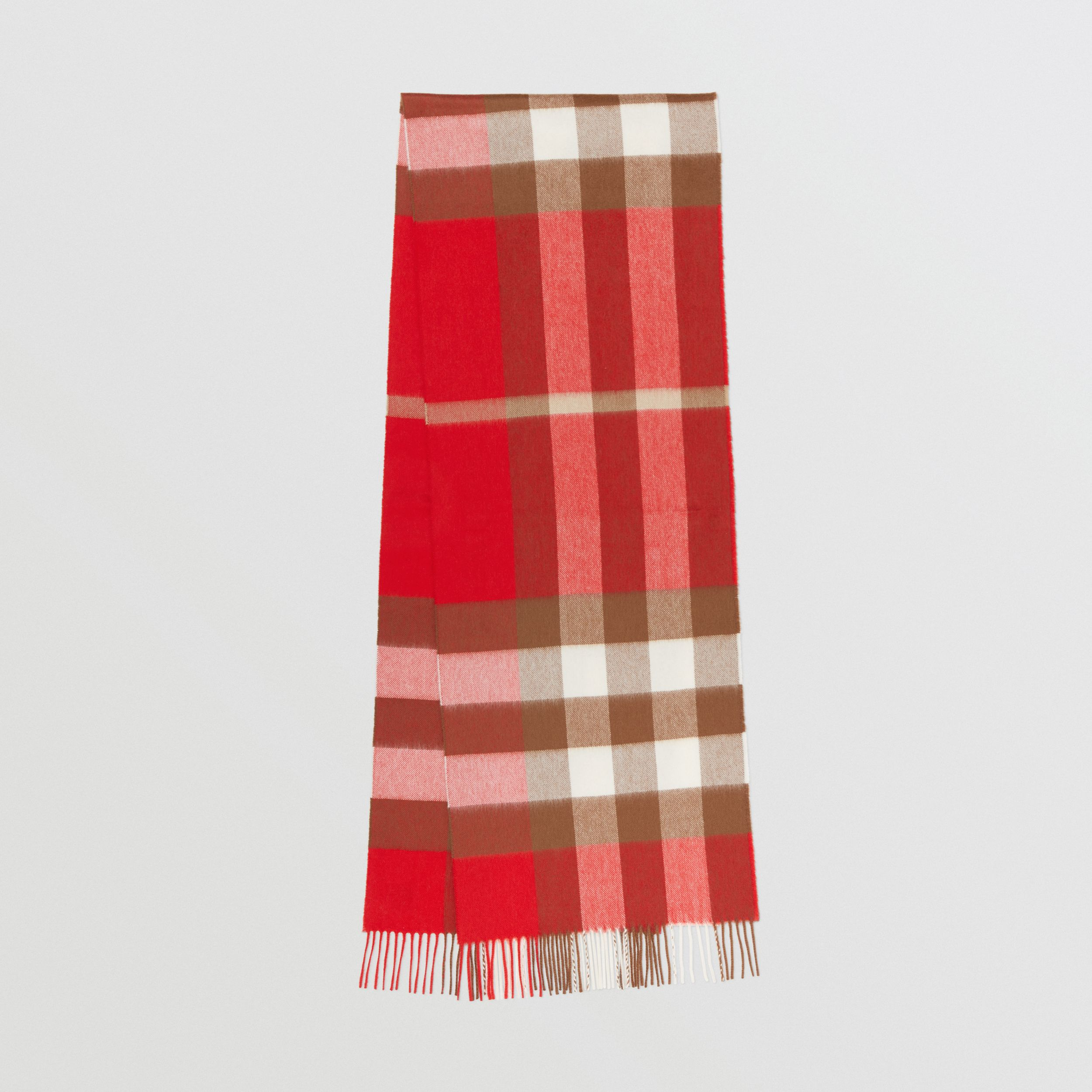 Check Cashmere Scarf in Bright Red | Burberry Australia - 1