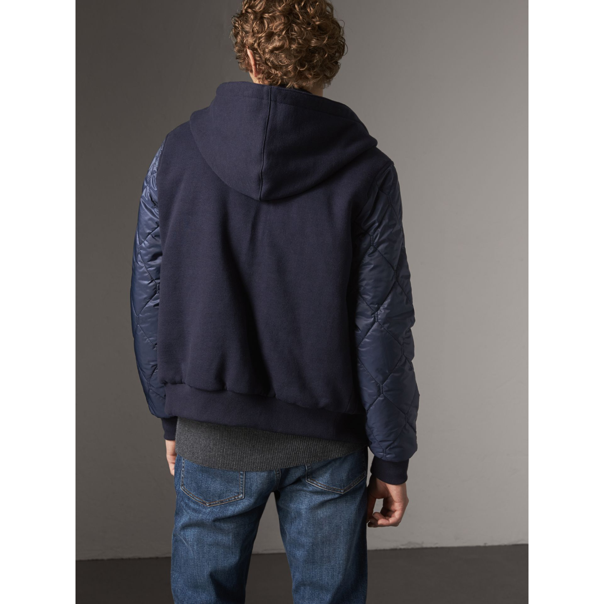 Reversible Quilted Cotton Hooded Bomber Jacket in Navy - Men | Burberry United Kingdom - gallery image 3