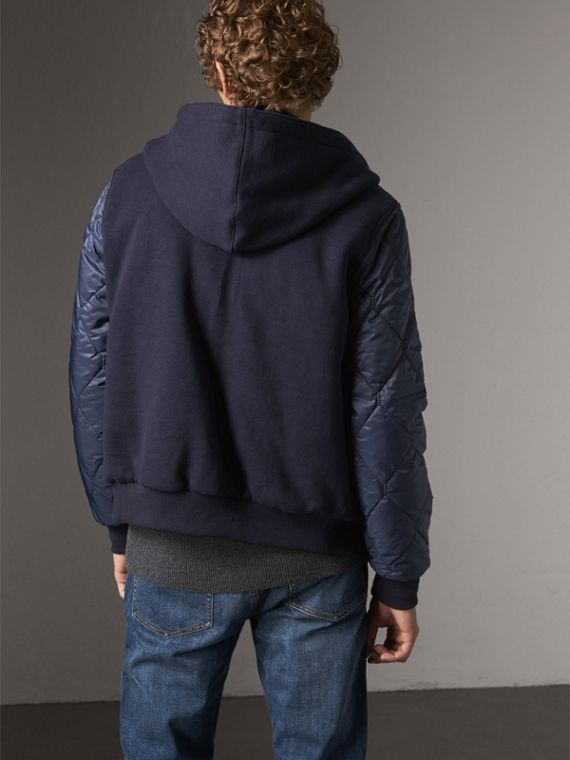 Reversible Quilted Cotton Hooded Bomber Jacket in Navy - Men | Burberry United States - cell image 2
